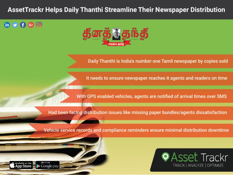 Daily Thanthi Uses AssetTrackr GPS Tracking Device